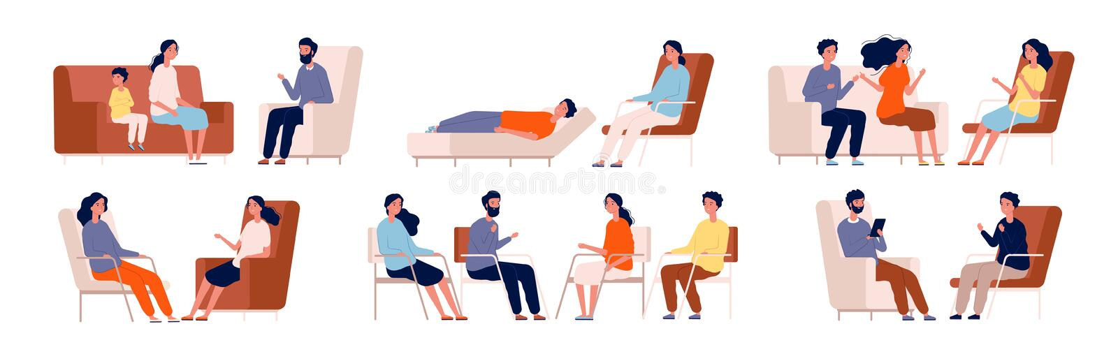 Psychologist. Group therapy couch talking medical consultant sitting family consulting vector characters stock illustration