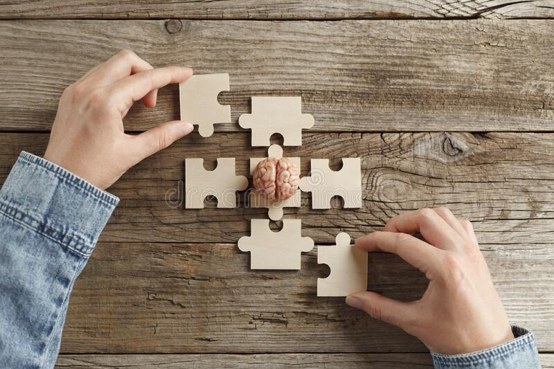 A psychologist is holding human brain and puzzle. Problem solving, help. Consultation and treatment of nervous diseases stock image