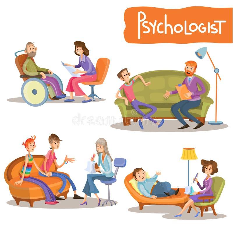Psychologist private practice cartoon vector set. Psychologist at work cartoon characters vector illustration set. Psychiatrist talking with clients, advising stock illustration