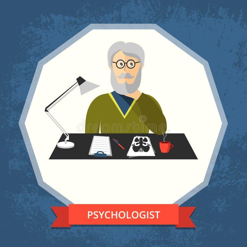 Psychologue avec des verres à son espace de travail illustration de vecteur
