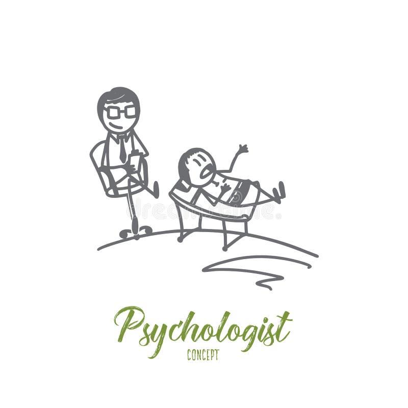 Psychologue Concept Vecteur d'isolement tiré par la main illustration libre de droits