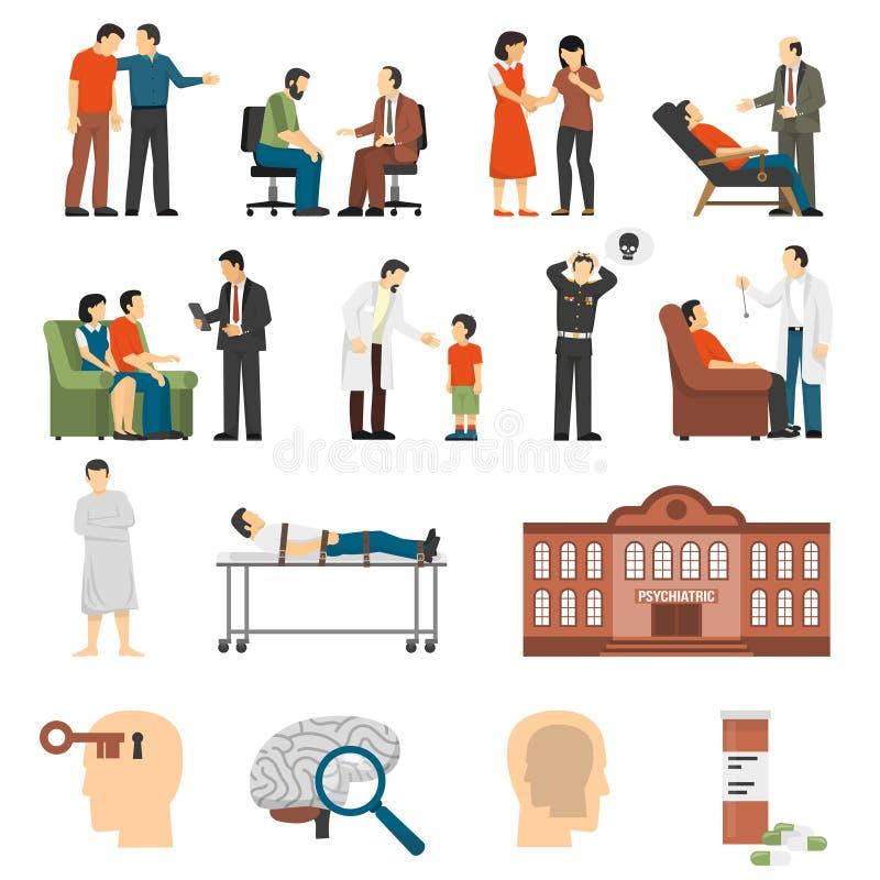 Psychologue Counselings Icons Set illustration libre de droits