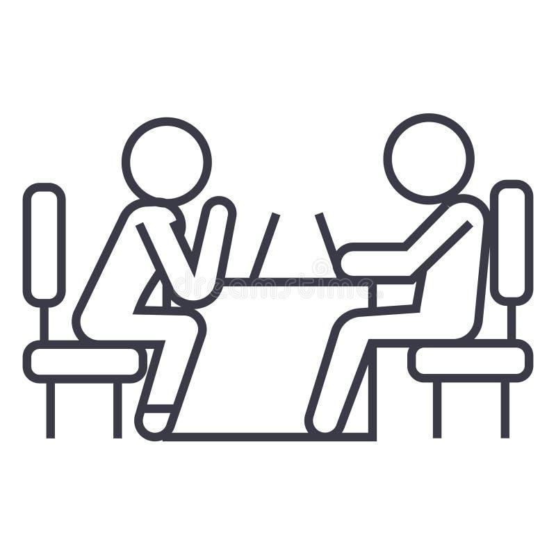 Psychologue et icône linéaire patiente, signe, symbole, vecteur sur le fond d'isolement illustration stock