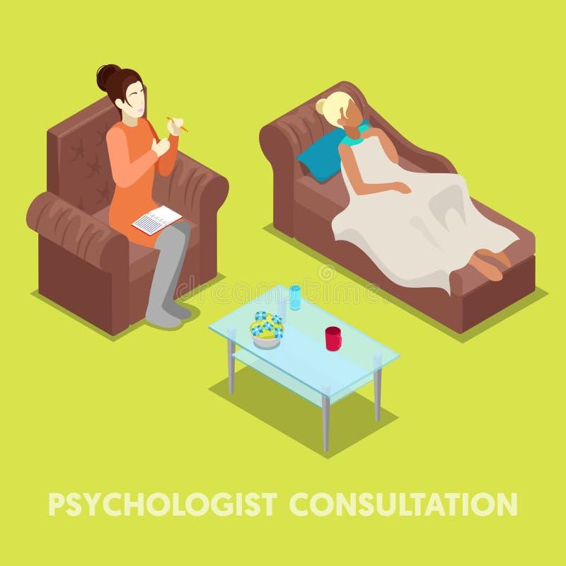 Psychologue isométrique Consultation Femme sur la psychothérapie illustration libre de droits