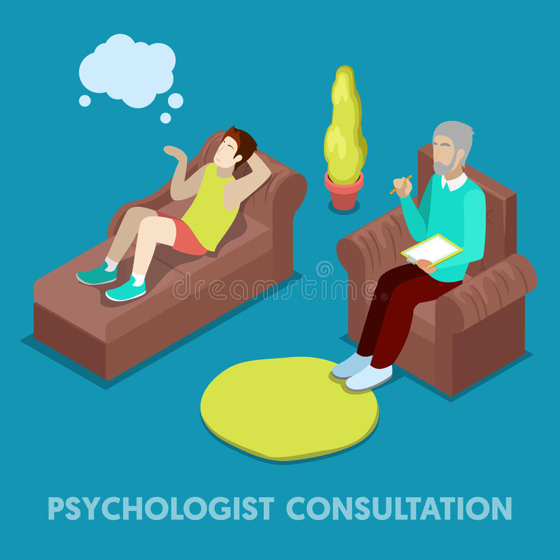 Psychologue isométrique Consultation Homme sur la psychothérapie illustration de vecteur