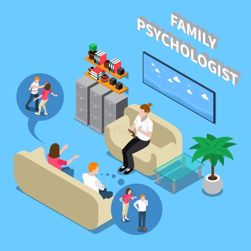 Psychologue Isometric Composition de famille illustration de vecteur