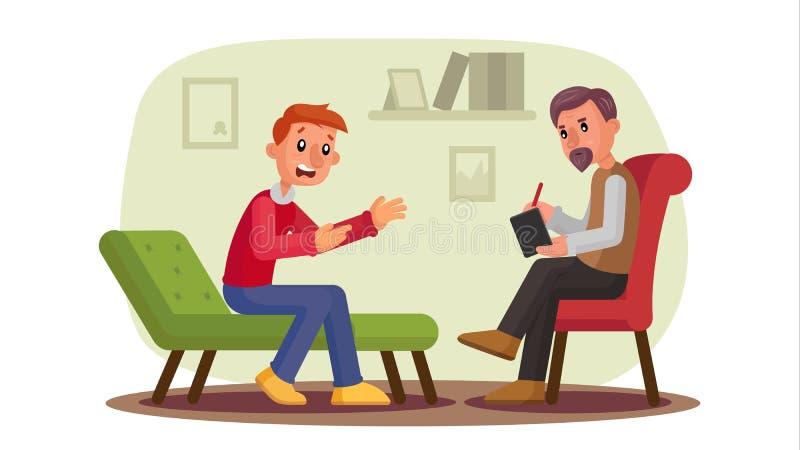 Psychologue Vector Dépression parlante patiente d'homme, problèmes, alcool, toxicomanie Psychothérapeute professionnel illustration de vecteur