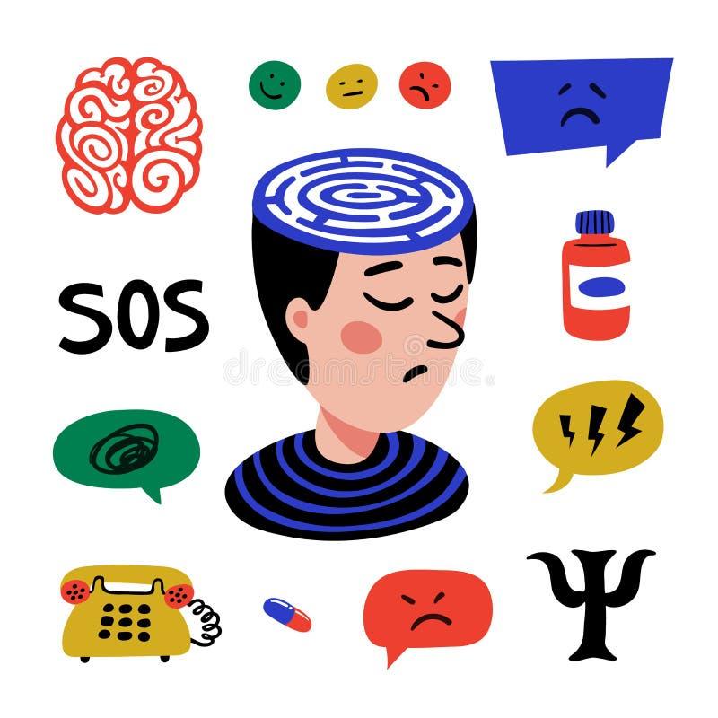 psychology Ajuste dos ?cones tirados m?o no tema da psicologia Psicologia, cérebro e grupo dos ícones do vetor da saúde mental do ilustração royalty free