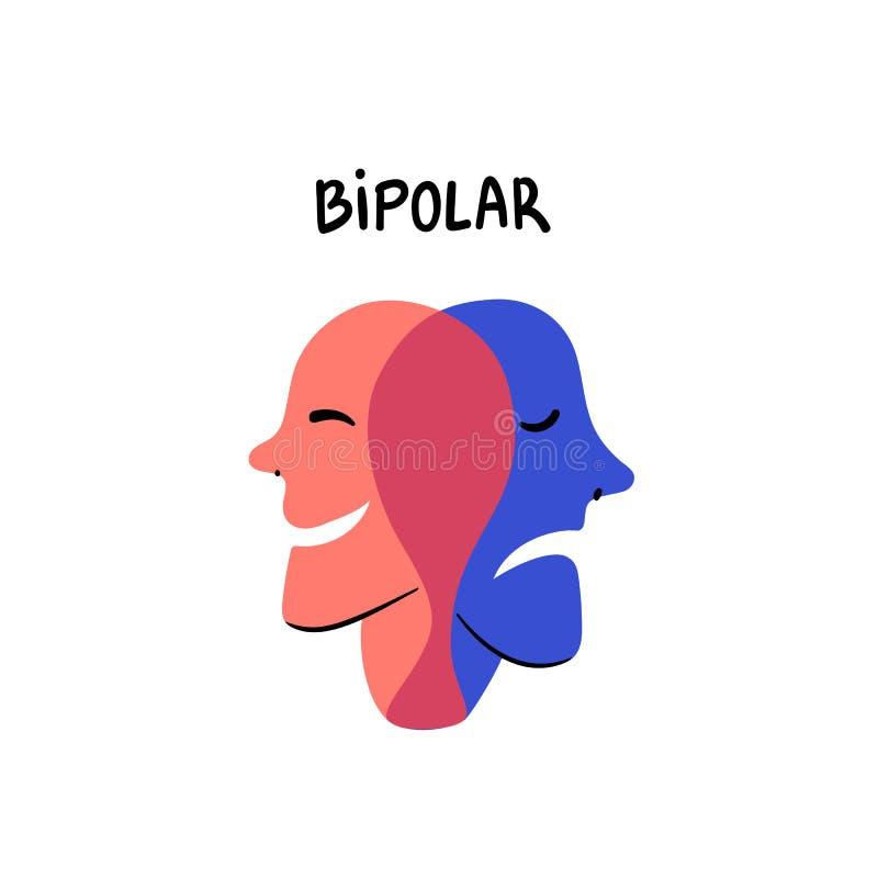 psychology bipolar O sorriso e as cabeças tristes fundem em uma pessoa que sofre da doença bipolar Vetor liso do slyle da garatuj ilustração royalty free