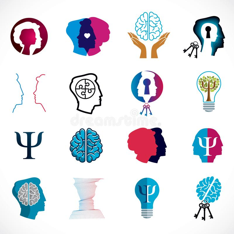 Psychology, brain and mental health vector conceptual icons or l. Ogos set. Relationship and gender psychology problems and conflicts, psychoanalysis and vector illustration
