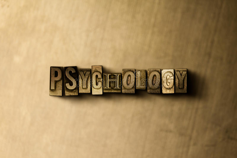 PSYCHOLOGY - close-up of grungy vintage typeset word on metal backdrop royalty free illustration
