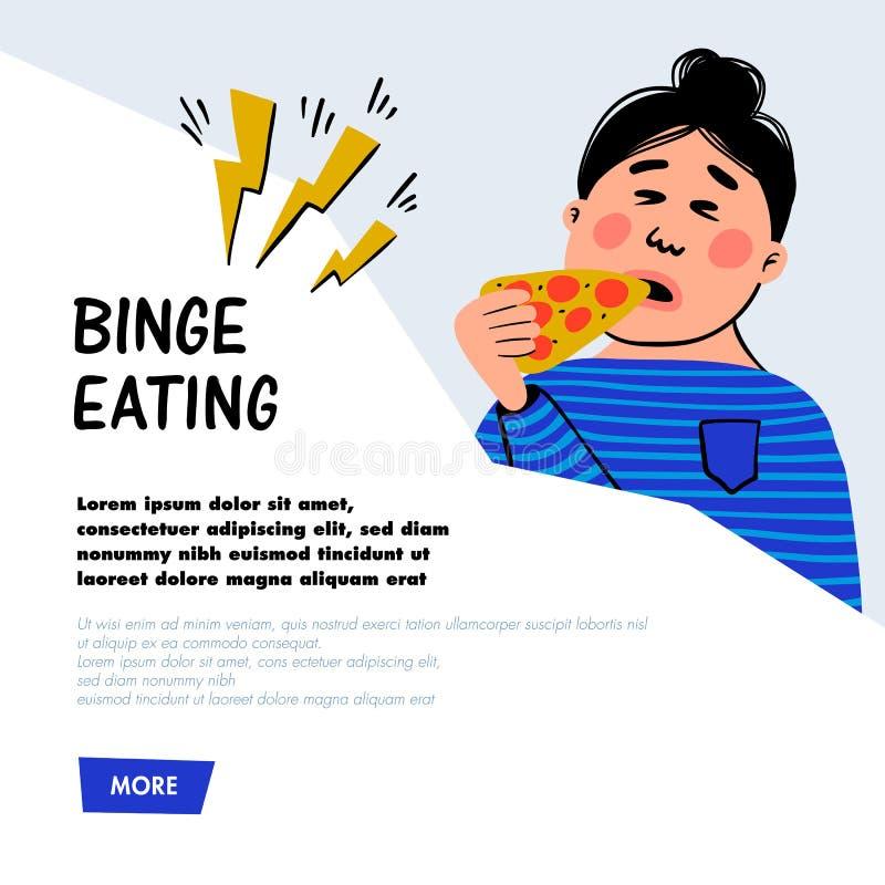 psychology Comer do frenesi Caráter da mulher com fatia de pizza Pessoa fêmea excesso de peso que sofre de comer demais ilustração royalty free