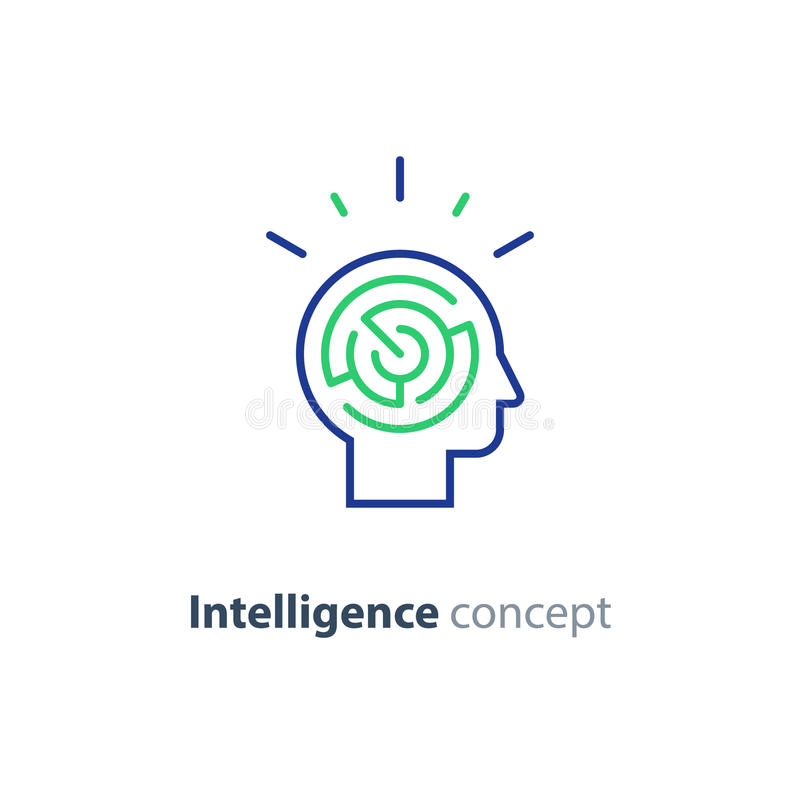 Psychology concept logo, strategy game icon, emotional intelligence. Logic games concept, creative thinking, head maze line icon, mind labyrinth, mental work royalty free illustration