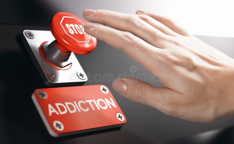 Psychology concept, Stop Addiction or Dependence. Woman pressing a panic button with stop sign to overcome addiction or dependence problems. Psychology concept royalty free stock photography