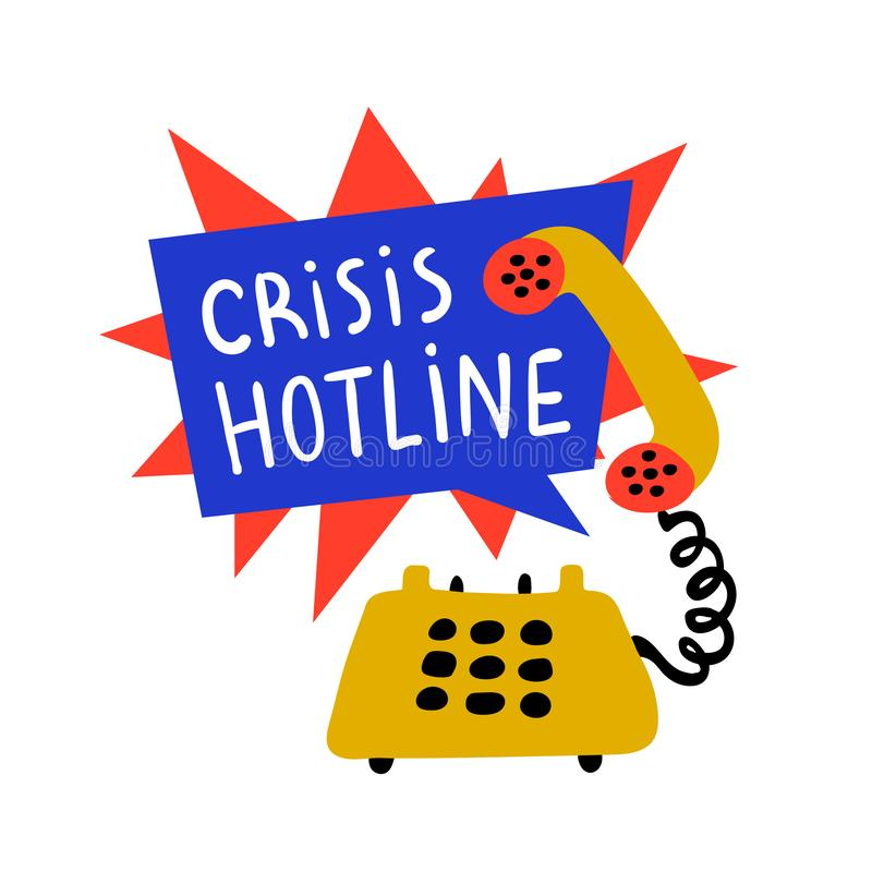 Psychology. Crisis hotline, Support call, psychological help. Yellow hand drawn phone with rad and blue speech bubble. Doodle style flat vector illustration stock illustration
