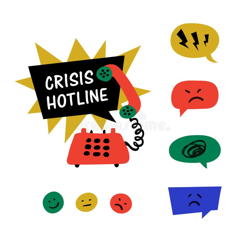 Psychology. Crisis hotline, Support call, psychological help. Yellow hand drawn phone with rad and blue speech bubble. Doodle style flat vector illustration royalty free illustration