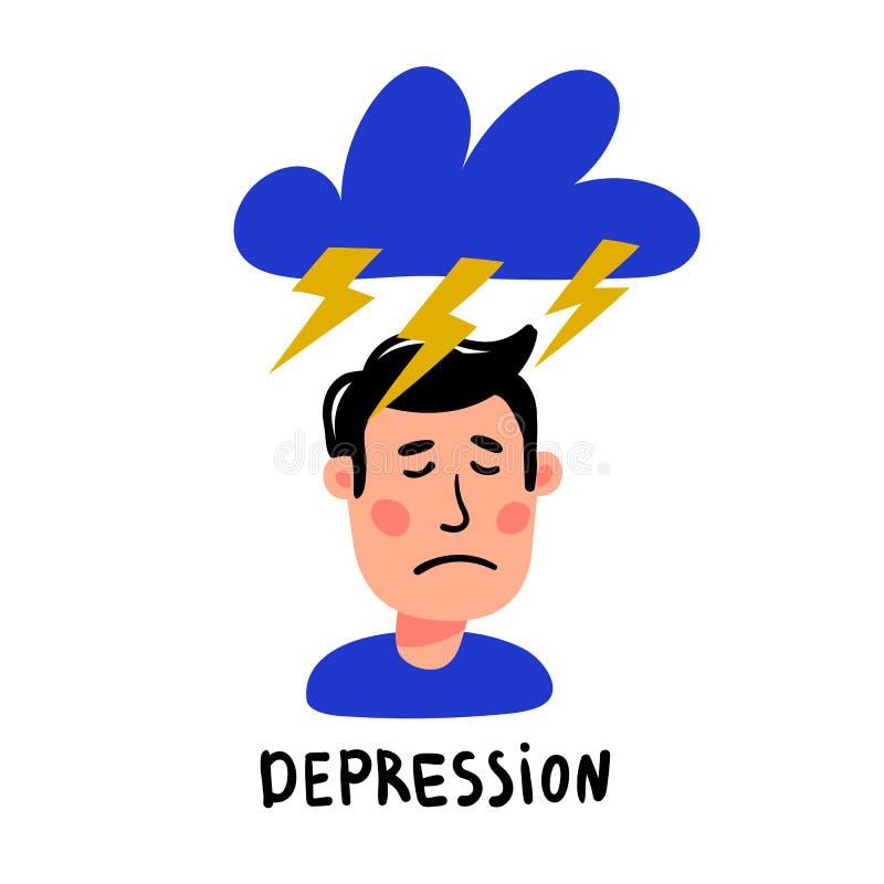 psychology depression Caráter deprimido do homem com com o nuvem tempestuosa e os relâmpagos acima de sua cabeça Plano do estilo  ilustração royalty free