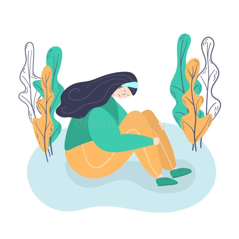 psychology depression Menina triste, infeliz, sentando-se na jovem mulher do assoalho na depressão que abraça seus joelhos Horizo ilustração do vetor
