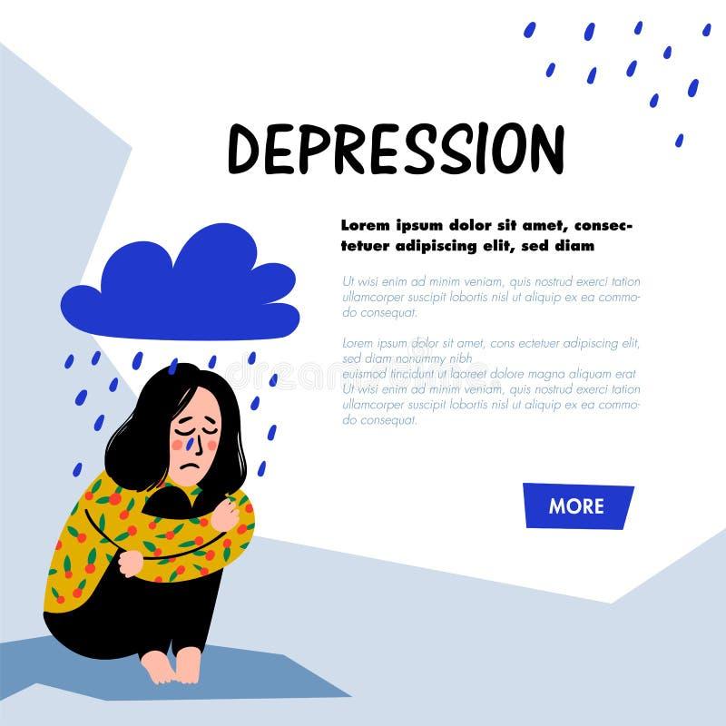 psychology depression Menina triste, infeliz, sentando-se sob a nuvem de chuva Jovem mulher na depress?o que abra?a seus joelhos  ilustração royalty free