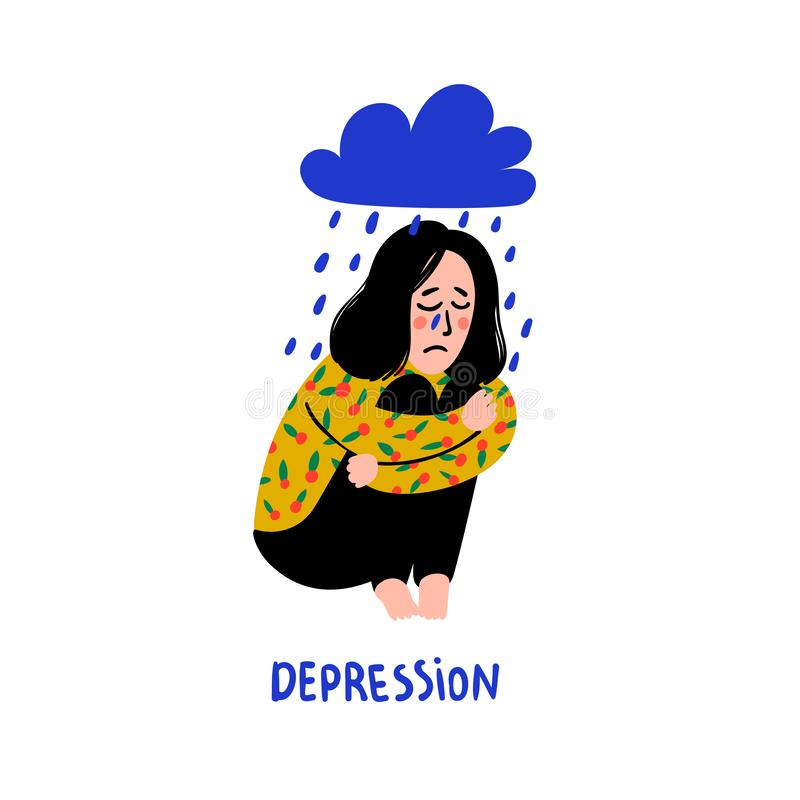 Psychology. Depression. Sad, unhappy girl, sitting under rain cloud. Young woman in depression hugging her knees and royalty free illustration