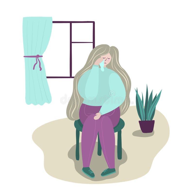 psychology depression Triste, gritando, menina infeliz, sentando-se na cadeira Uma moça com os rasgos em seus olhos Horizontalmen ilustração royalty free