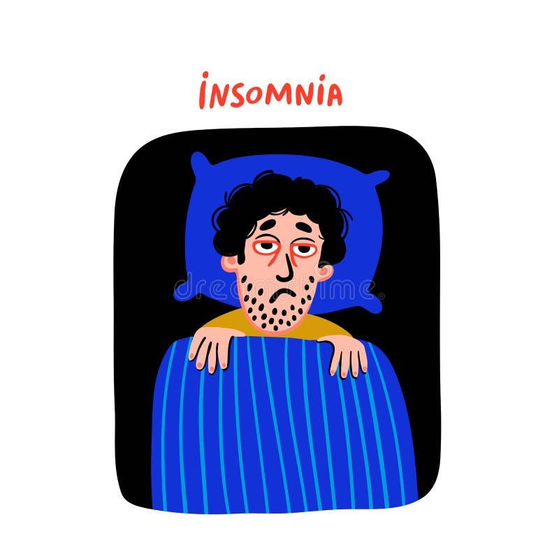 psychology Desordem de sono Caráter do homem com insônia na cama Pessoa masculina sem sono com a cara cansado e o vermelho da tri ilustração stock