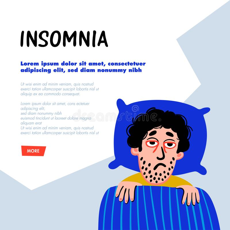 psychology Desordem de sono Car?ter do homem com ins?nia na cama Pessoa masculina sem sono com a cara cansado e o vermelho da tri ilustração do vetor