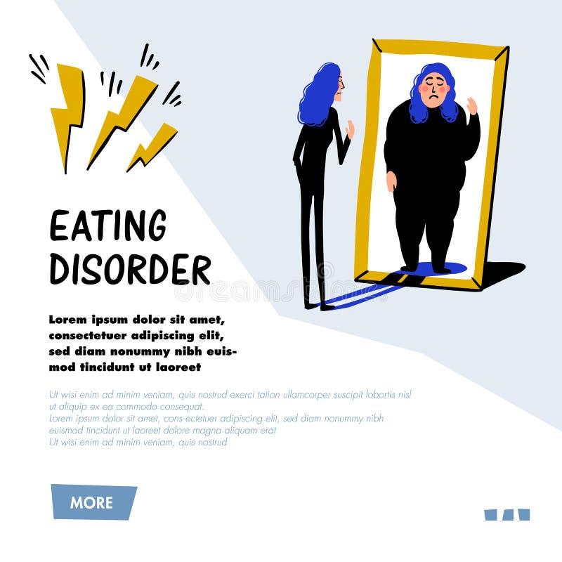 psychology Distúrbio alimentar, anorexia ou bulimia Jovem mulher magro que olha no espelho e que vê-se como o excesso de peso ilustração royalty free
