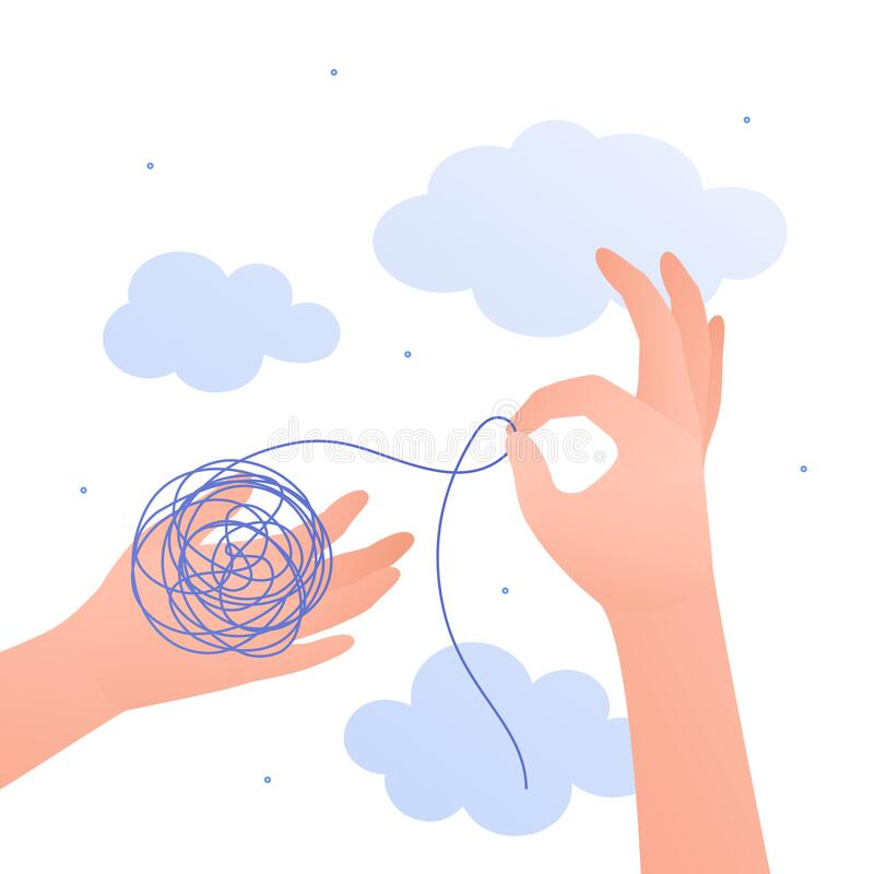 Free Psychology, Emotion And Psychotherapy Concept. Vector Flat Illustration. Mental Health Treatment Metaphore. Human Hand Untangle Stock Images - 191209094