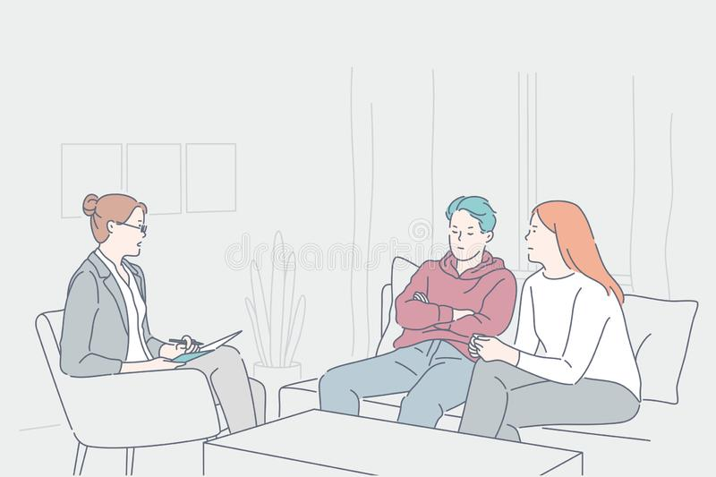 Psychology, family quarrel, stress, depression concept. Psychology, family quarrel, depression concept. Young family man, woman, husband, wife had quarrel at vector illustration