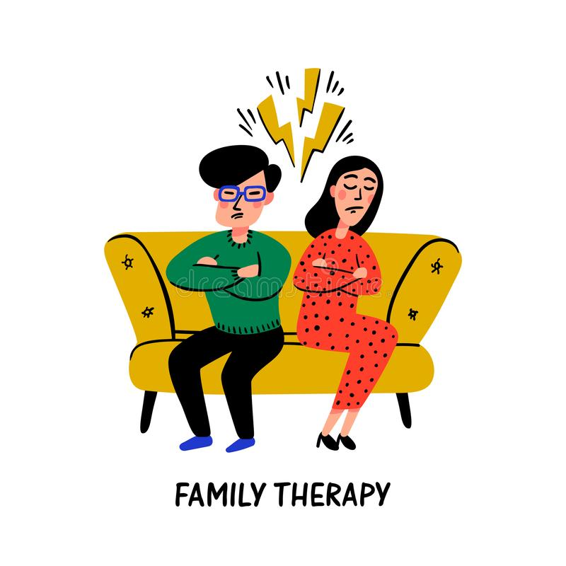 Psychology. Family therapy. Unhappy family couple characters on psychologist session, psychotherapy counseling royalty free illustration