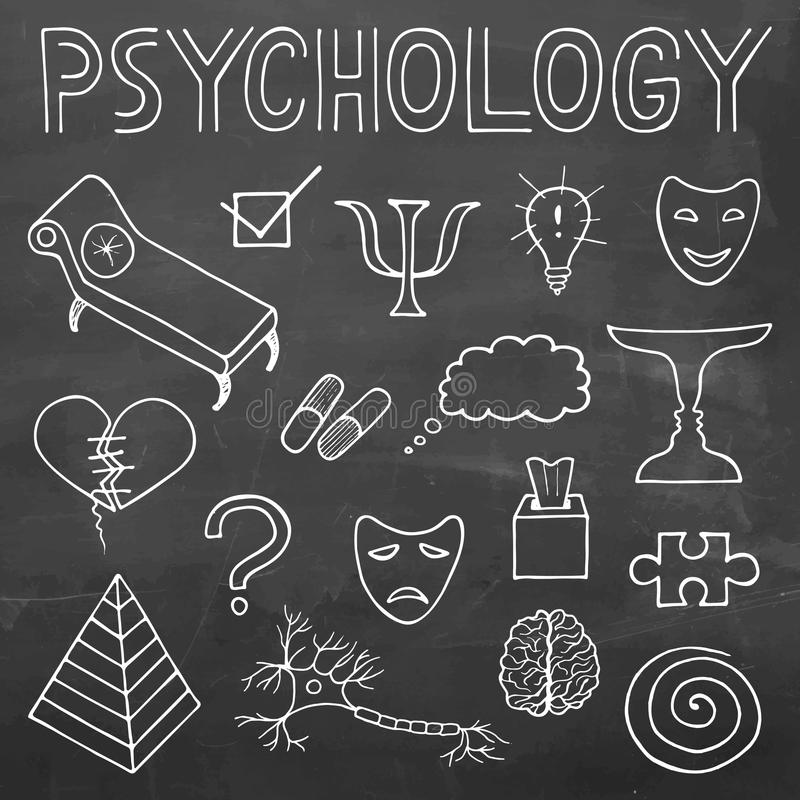 Psychology hand drawn doodle set and typography on chalkboard ba. Psychology hand drawn vector doodle set and typography on chalkboard background vector illustration