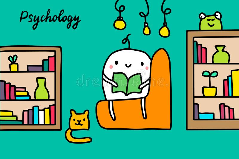 Psychology hand drawn vector illustration with cute cartoon men reading books vector illustration