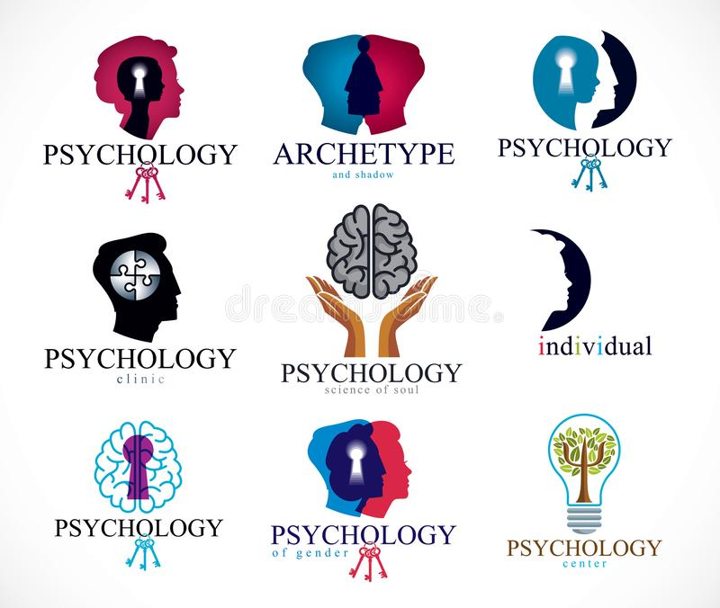 Psychology, human brain, psychoanalysis and psychotherapy, relationship and gender problems, personality and. Individuality, cerebral neurology, mental health vector illustration