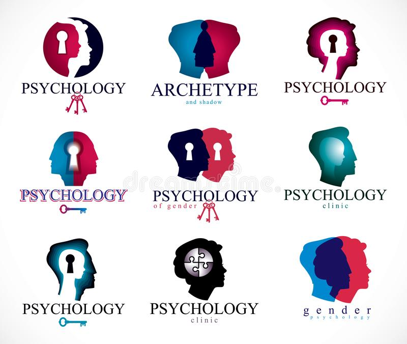 Psychology, human brain, psychoanalysis and psychotherapy, relationship and gender problems, personality and. Individuality, cerebral neurology, mental health royalty free illustration