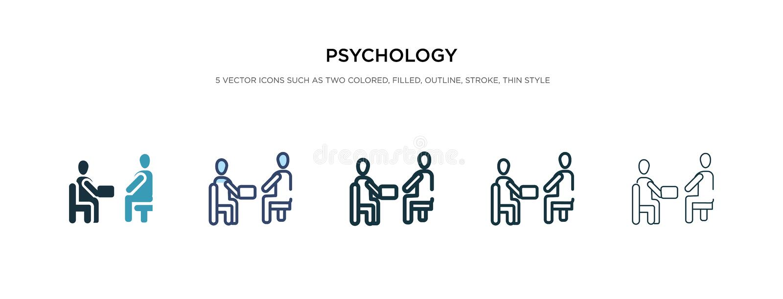Psychology icon in different style vector illustration. two colored and black psychology vector icons designed in filled, outline. Line and stroke style can be stock illustration