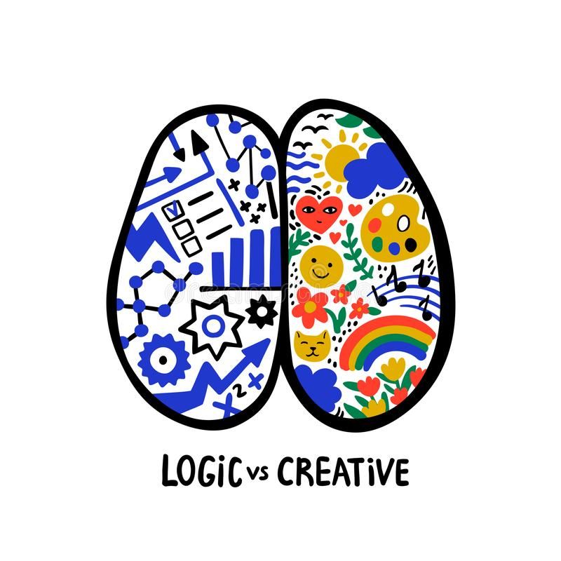 Psychology. Logic vs creative. Left right human brain concept. Hand drawn Creative and logic part with social and stock illustration