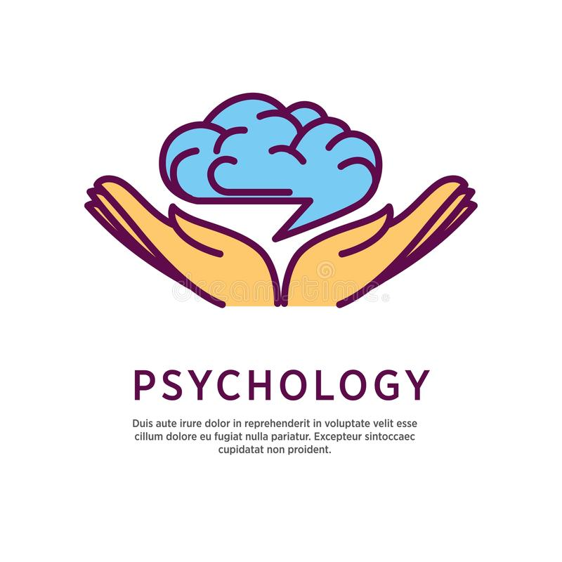 Psychology logo design with open hand palms with human brain vector illustration