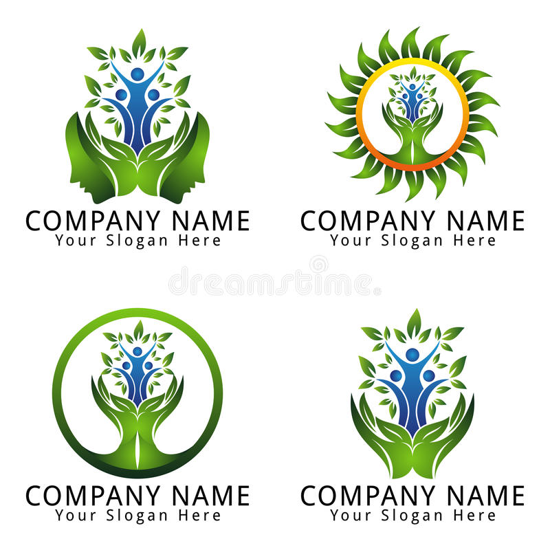 Download Psychology Logo Natural Concept With People And Leaf Stock Vector    Illustration Of Biology,  Editable Leaf Template