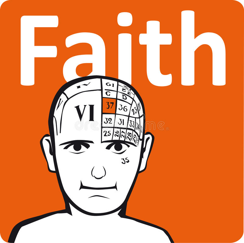 A psychology model. The faith section of the brain stock illustration
