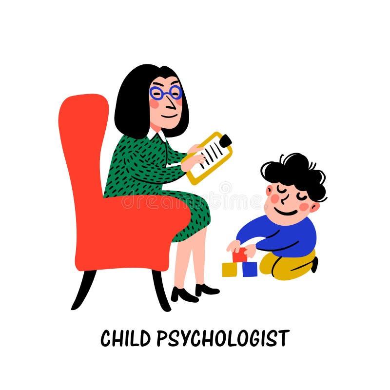 psychology O psicólogo Woman Psychologist da criança testa a criança Preparação para a escola Vetor liso do estilo da garatuja ilustração royalty free