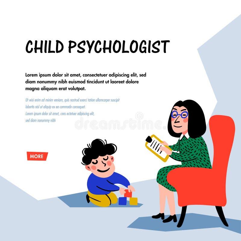 psychology O psic?logo Woman Psychologist da crian?a testa a crian?a Prepara??o para a escola Vetor liso do estilo da garatuja ilustração stock