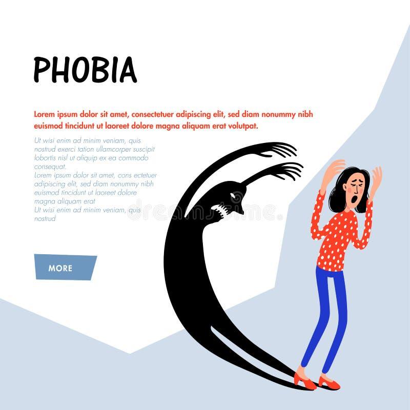 psychology phobia Caráter amedrontado da mulher que escapa o monstro assustador da sombra Sofrimento da pessoa fêmea do medo dood ilustração royalty free