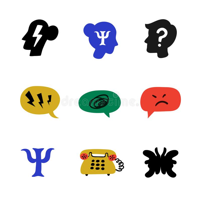 Psychology. Psychological counseling icons. Psychology, brain and mental health vector icons set on white background. Naive style flat vector illustration vector illustration