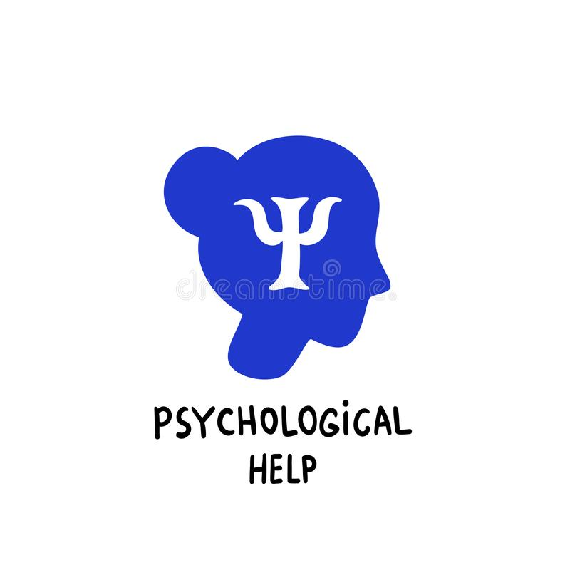 Psychology. Psychological help. Female head profile with Psi letter inside.Brain and mental health vector icon or logo. Doodle style flat vector illustration stock illustration