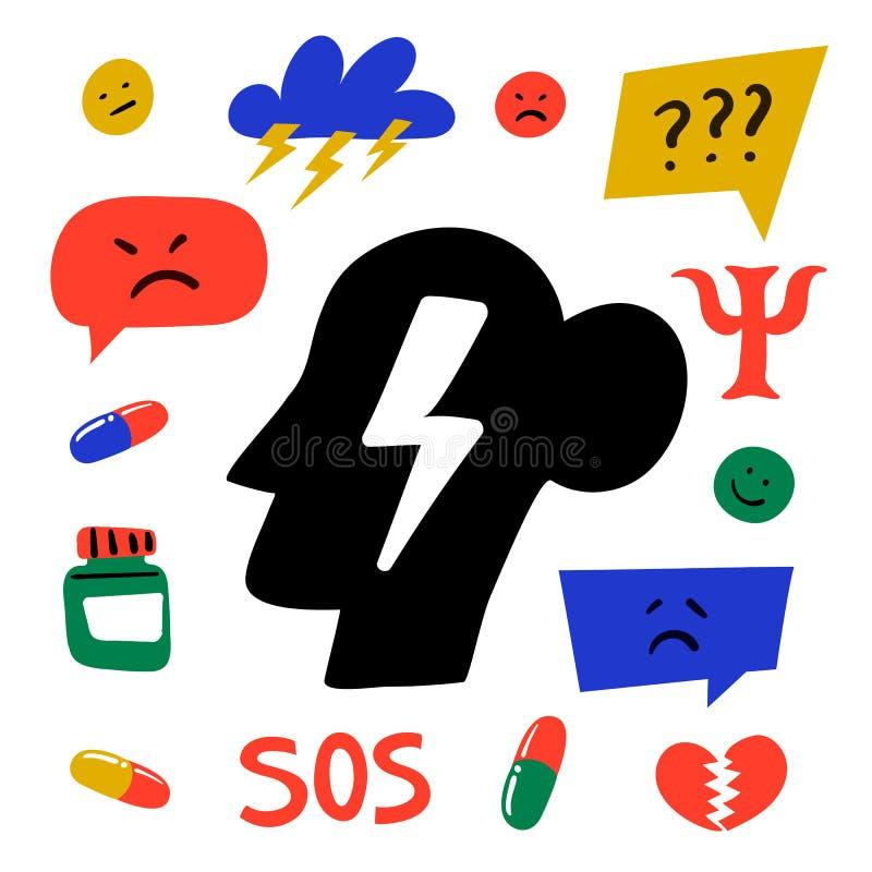 Psychology. Psychological help. Set of hand drawn icons on theme of psychology. Psychology, brain and mental health stock illustration