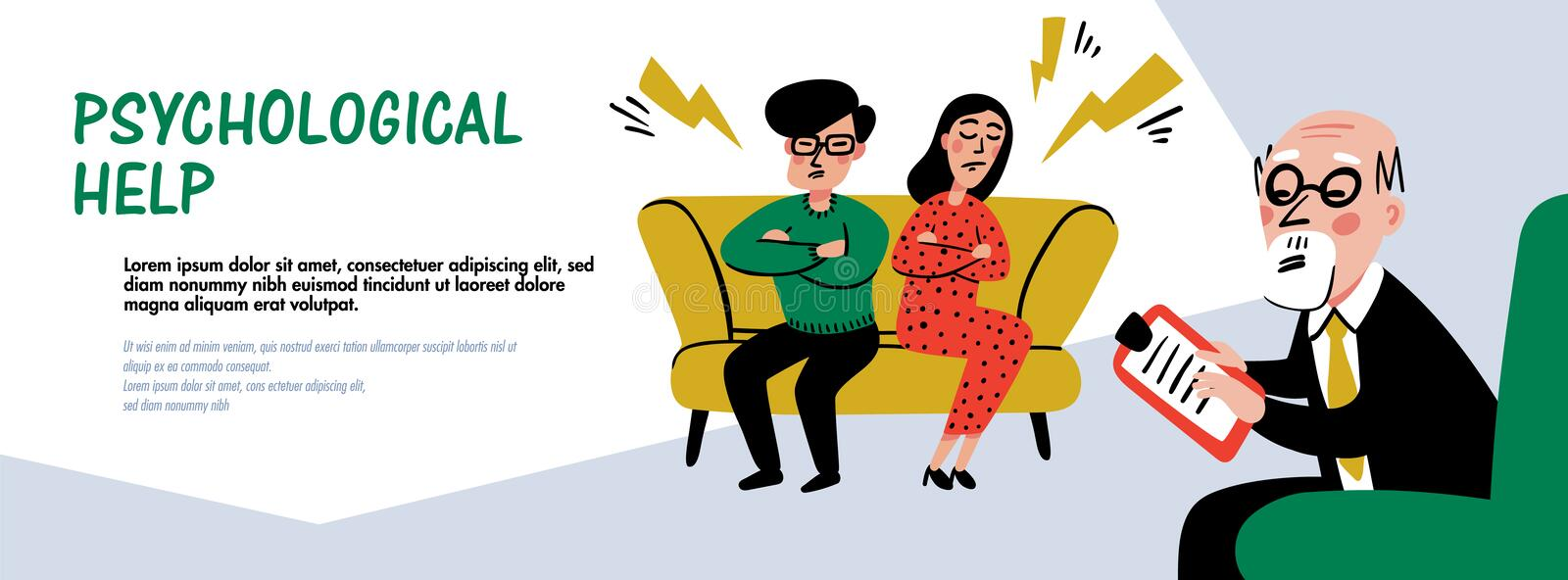 Psychology. Psychological help web banner. Doctor and patient, a man lying on sofa and talking to therapist. Naive style. Psychology. Psychological help vector illustration