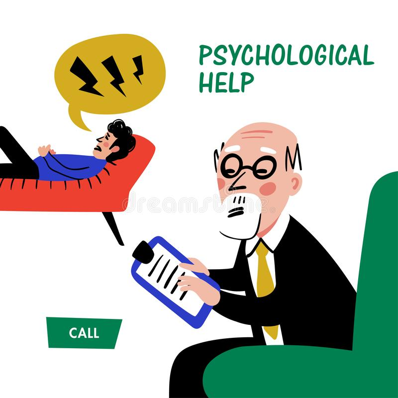 Psychology. Psychological help web banner. Doctor and patient, a man lying on sofa and talking to therapist. Naive style. Flat vector illustration vector illustration