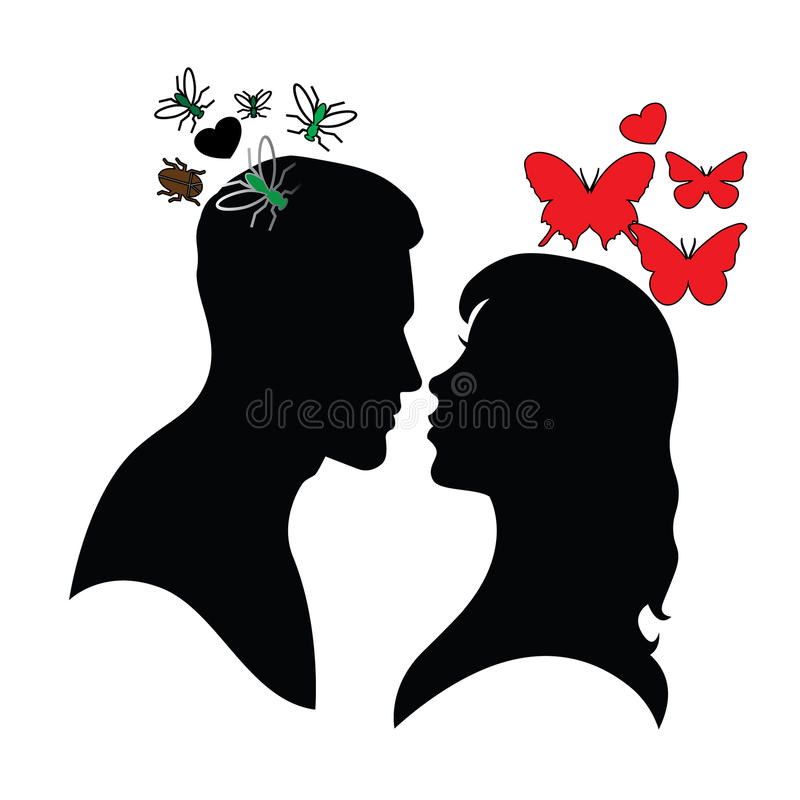 Psychology of relations. Silhouette of man and woman. Deception, duplicity and dirty thoughts royalty free illustration