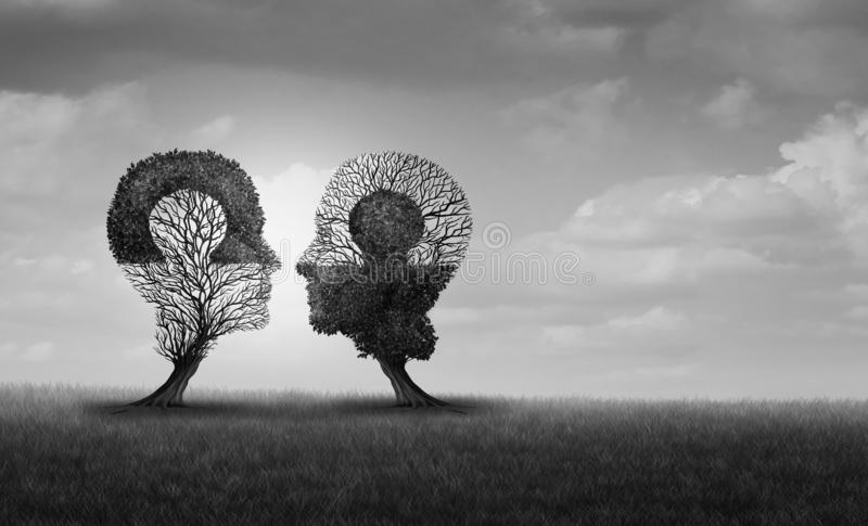 Psychology Relationship. And psychological partnership communication concept as a mutual alliance to join with 3D illustration elements stock illustration